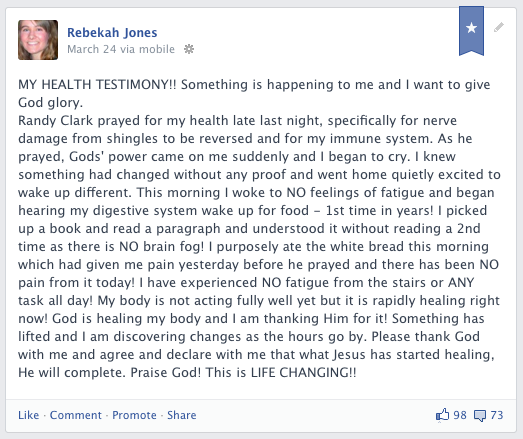 My facebook post the morning after prayer.