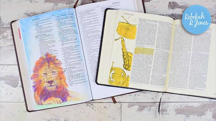 I've been filling two Bibles with art for six months and today I'm sharing a flip through of my Bible art! Join me! - Rebekah R Jones