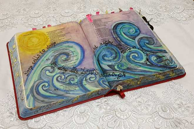 Elmarie Kruis - Bible Art Journaling Challenge Participant Journaling Bible Entry