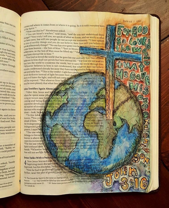Patsy McGehee Stowe - Bible Art Journaling Challenge Participant Journaling Bible Entry