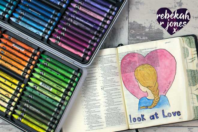 Watercolor crayons tutorial in a Journaling Bible with Rebekah R Jones